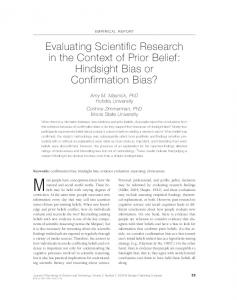 Evaluating Scientific Research in the Context of Prior Belief: Hindsight ...