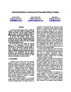 Evaluating Software Architectures for Successful Software ... - CmpE