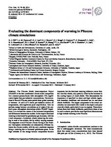 Evaluating the dominant components of warming in Pliocene climate ...