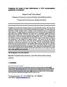 Evaluating the impact of land redistribution: A CGE ... - CiteSeerX