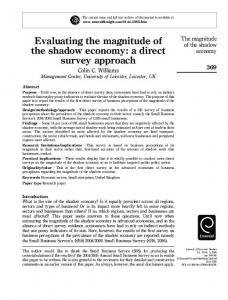 Evaluating the magnitude of the shadow economy: a ... - SSRN papers