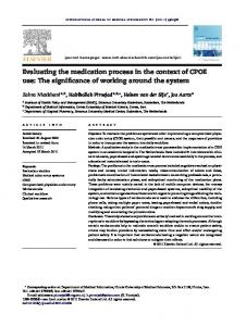 Evaluating the medication process in the context of CPOE use: The ...