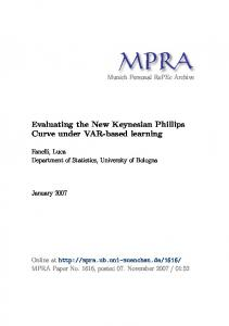 Evaluating the New Keynesian Phillips Curve under ...