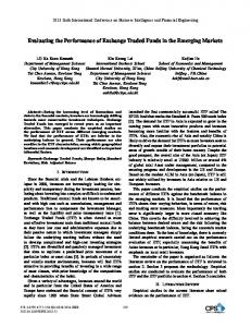 Evaluating the Performance of Exchange Traded Funds in the ...