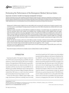Evaluating the Performance of the Emergency Medical Services Index