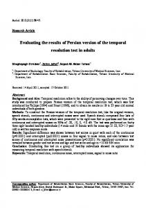 Evaluating the results of Persian version of the temporal ... - CiteSeerX