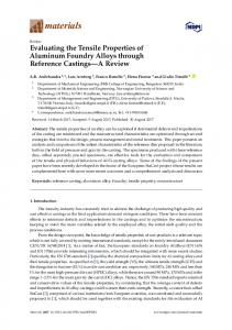 Evaluating the Tensile Properties of Aluminum Foundry Alloys ... - MDPI