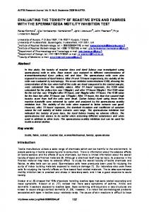 evaluating the toxicity of reactive dyes and fabrics ... - Semantic Scholar