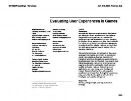 Evaluating User Experiences in Games - Exertion Interfaces