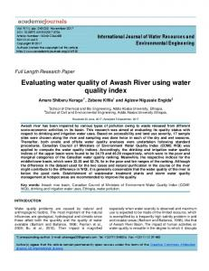 Evaluating water quality of Awash River using water quality index