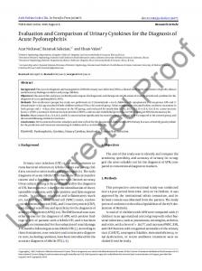 Evaluation and Comparison of Urinary Cytokines for ...