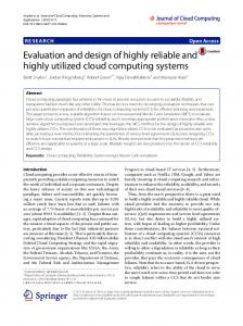 Evaluation and design of highly reliable and highly utilized cloud ...