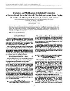 Evaluation and Modification of the Initial Composition of Gabbro Basalt ...
