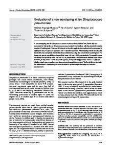 Evaluation of a new serotyping kit for Streptococcus ... - CiteSeerX