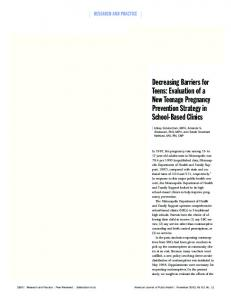 Evaluation of a New Teenage Pregnancy Prevention Strategy in ...