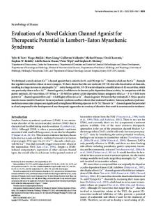 Evaluation of a Novel Calcium Channel Agonist for Therapeutic ...