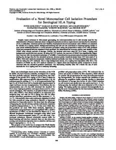 Evaluation of a Novel Mononuclear Cell Isolation Procedure for