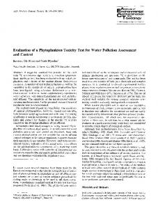 Evaluation of a phytoplankton toxicity test for water ... - Springer Link