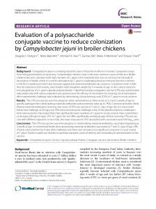 Evaluation of a polysaccharide conjugate vaccine to reduce ...
