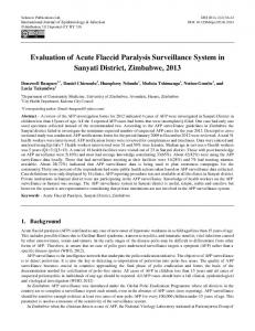 Evaluation of Acute Flaccid Paralysis Surveillance ...