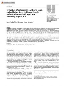 Evaluation of adiponectin and leptin levels and ...