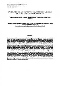 evaluation of adsorption of uranium from aqueous