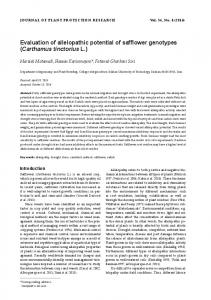 Evaluation of allelopathic potential of safflower ...
