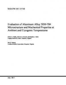 Evaluation of Aluminum Alloy 2050-T84 Microstructure Mechanical ...
