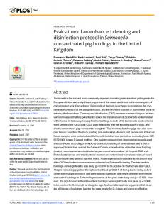 Evaluation of an enhanced cleaning and disinfection protocol ... - PLOS