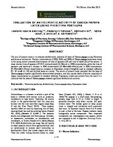 evaluation of anthelmintic activity of carica papaya ... - Semantic Scholar