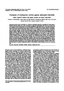 Evaluation of antibacterial activity against Salmonella Enteritidis