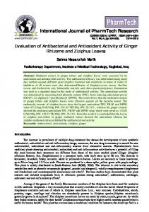 Evaluation of Antibacterial and Antioxidant Activity of ...