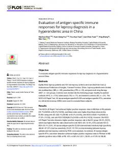 Evaluation of antigen-specific immune responses for leprosy ... - PLOS