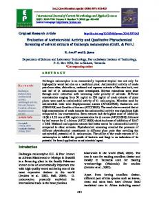 Evaluation of Antimicrobial Activity and Qualitative Phytochemical ...
