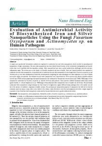 Evaluation of Antimicrobial Activity of Biosynthesized Iron and Silver ...