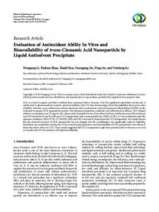 Evaluation of Antioxidant Ability In Vitro and Bioavailability of trans ...