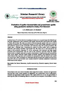 Evaluation of aquifer characteristics and groundwater quality using ...