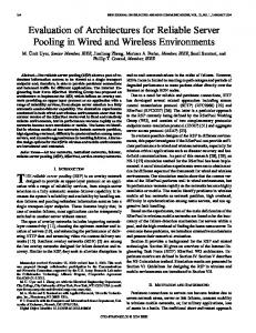 Evaluation of Architectures for Reliable Server Pooling in Wired and ...
