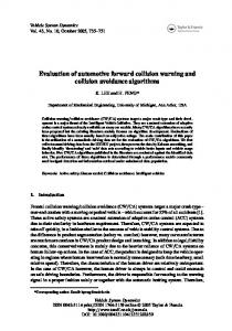Evaluation of automotive forward collision warning and collision ...