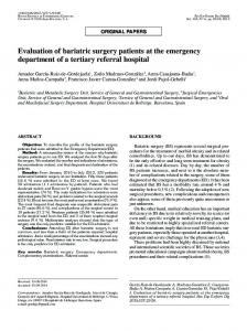 Evaluation of bariatric surgery patients at the ... - Semantic Scholar