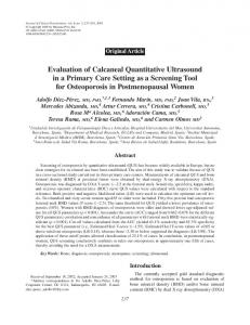 Evaluation of Calcaneal Quantitative Ultrasound in a Primary Care ...