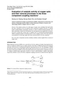 Evaluation of catalytic activity of copper salts and their ... - CiteSeerX