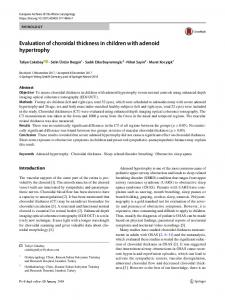 Evaluation of choroidal thickness in children with ... - Springer Link