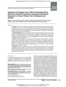 Evaluation of Circulating Tumor Cells and Circulating Tumor DNA in ...