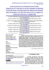 evaluation of cognitive functions, personality and regulatory sphere in ...