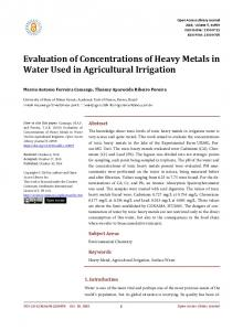 Evaluation of Concentrations of Heavy Metals in