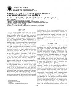 Evaluation of conductive cooling of lactating dairy cows under ...