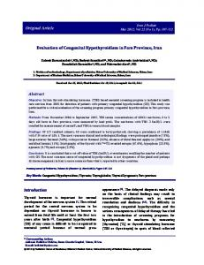 Evaluation of CongenitalHypothyroidism in Fars Province, Iran ...