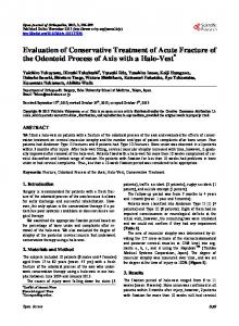 Evaluation of Conservative Treatment of Acute Fracture of the ...