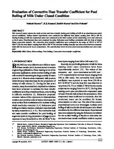 Evaluation of Convective Heat Transfer Coefficient for Pool Boiling of
